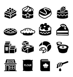 Dessert icon set vector