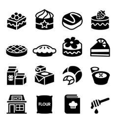 dessert icon set vector image vector image