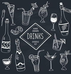 Doodle drinks vector image