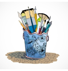 Drawing tools holder sketch vector image vector image