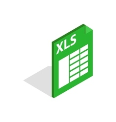 File format xls icon isometric 3d style vector