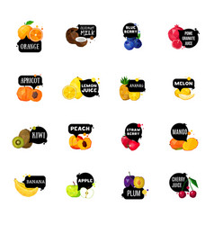 fresh fruits labels polygonal icons collection vector image vector image