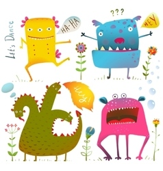 Fun cute kind monsters for children design vector
