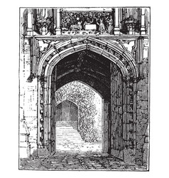 Gate of merton college door vintage engraving vector