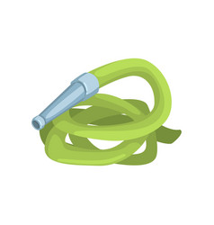 Green garden hose agriculture tool cartoon vector