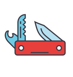 Knife army multipurpose swiss folding knife vector