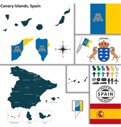 Map of Canary Islands vector image vector image