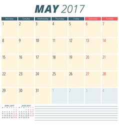 May 2017 Calendar Planner for 2017 Year Week vector image vector image