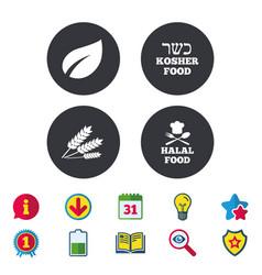 Natural food icons halal and kosher signs vector