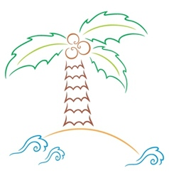 Palm at island vector image vector image