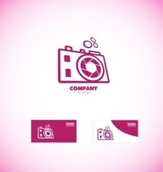Photography camera aperture logo vector image