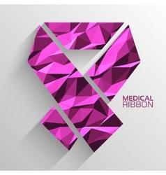 Polygonal ribbon cancer background concept vector