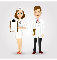 portrait of doctor and nurse vector image vector image
