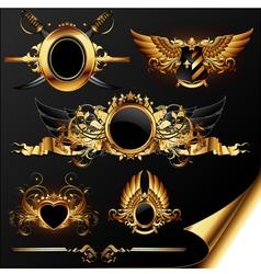 set of ornamental heraldic elements vector image vector image