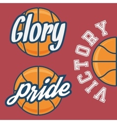Set of Three Basketball Team Logo with Ball vector image vector image