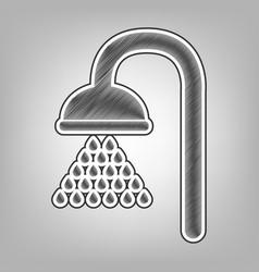 Shower sign pencil sketch imitation dark vector