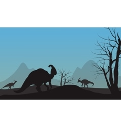 Silhouette of parasaurolophus in hills vector image vector image