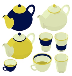 Teacup and teapot kettle isometric set vector