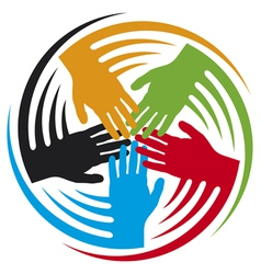 Teamwork hands icon vector