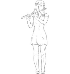transverse flute vector image