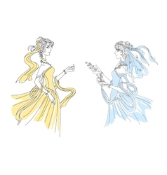 Two delicate vintage ladies in swirling attire vector image