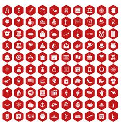 100 calendar icons hexagon red vector