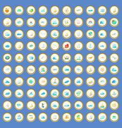 100 ocean icons set cartoon vector image
