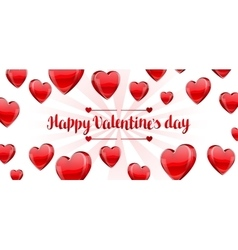 Happy valentine day banner with red realistic vector