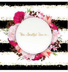 Elegance flowers frame of color roses and tulips vector