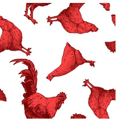 Pattern with red hens and cock vector