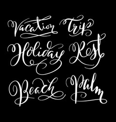 Holiday and vacation hand written typography vector