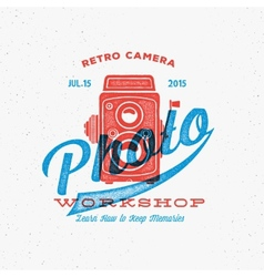 Retro camera photo workshop label or logo template vector
