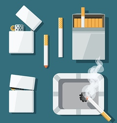 Set lighters cigarettes and ashtray in flat style vector