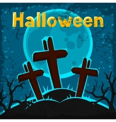 Happy halloween greeting card with cemetery and vector