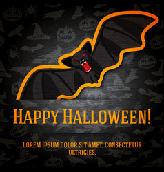Happy halloween greeting card with black bat vector