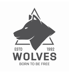 Vintage wolf logo or label vector