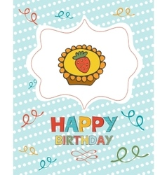 Happy birthday card with sweet dessert vector