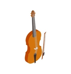 Violin with fiddlestick icon isometric 3d style vector