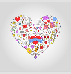 abstract colorful heart with valentines day doodle vector image vector image