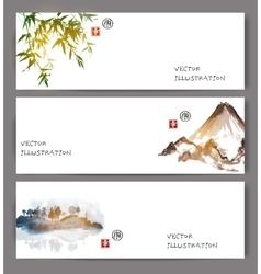 Banners with green bamboo mountains and island vector image