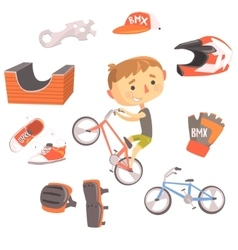 Boy bmx bike rider kids future dream professional vector