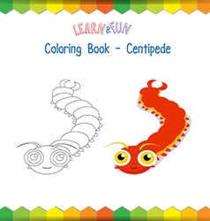 Centipede coloring book educational game vector
