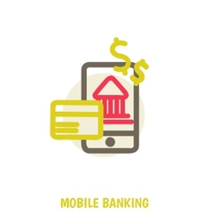 colored concept for mobile banking and online vector image