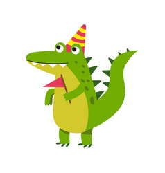 cute cartoon crocodile character wearing party hat vector image vector image