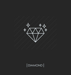diamond outline icon isolated vector image vector image