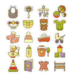 Ector set of flat design cute colorful baby icon vector