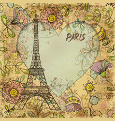 eiffel tower paris postcard vector image vector image