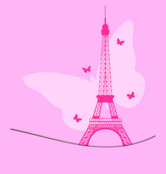 Eiffel tower with butterflies pattern vector