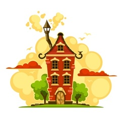 Fairy-tale house over sunset vector image