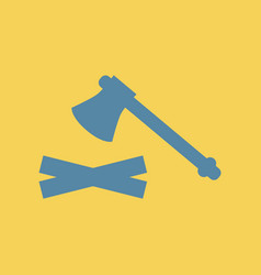 Flat icon wood and an ax vector